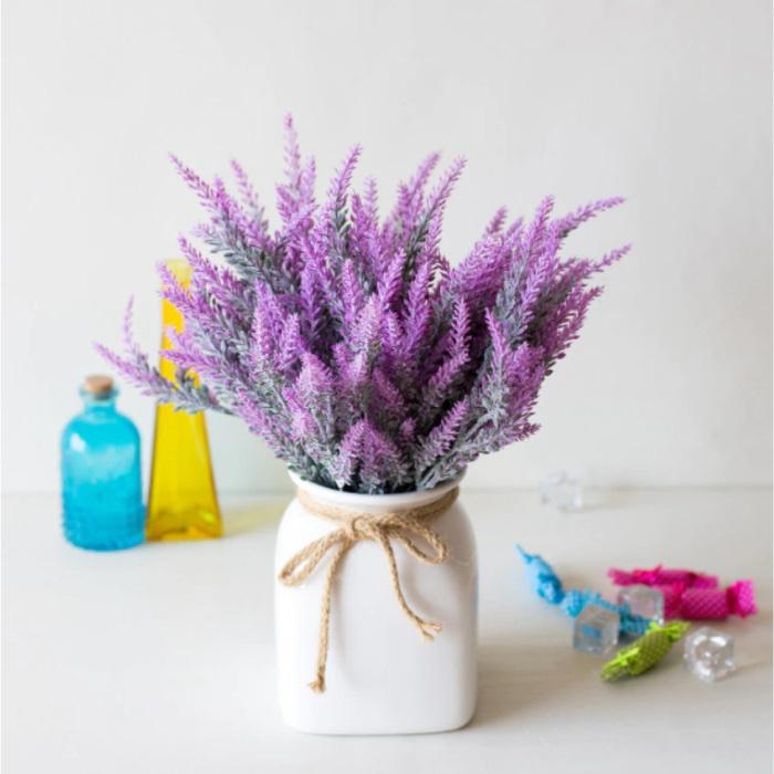Kunst Boeket met Vaas - Lavendel Plastic Bloemen Luxe Boeketten Decor Ornament Violet