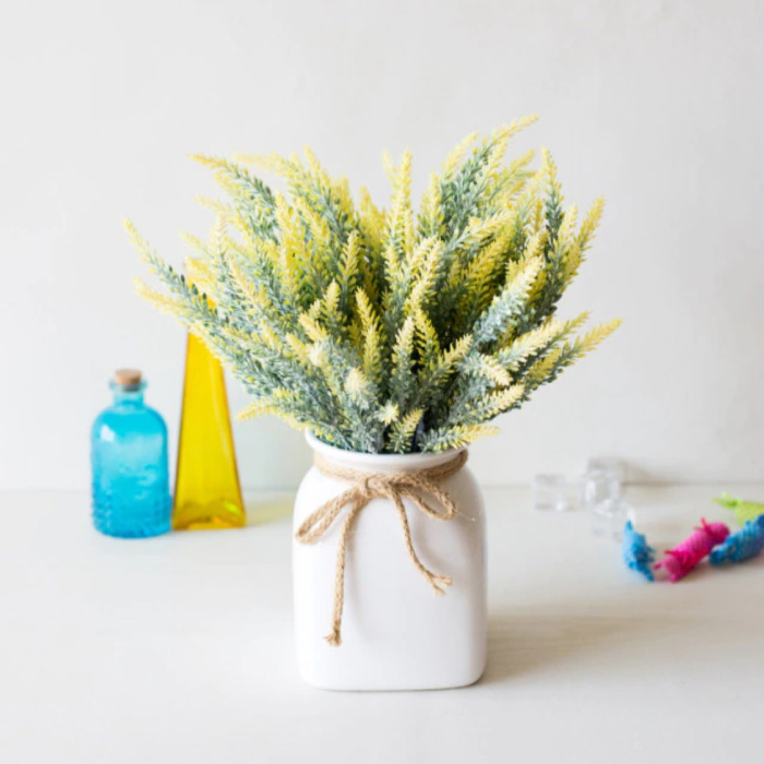 Kunst Boeket met Vaas - Lavendel Plastic Bloemen Luxe Boeketten Decor Ornament Geel