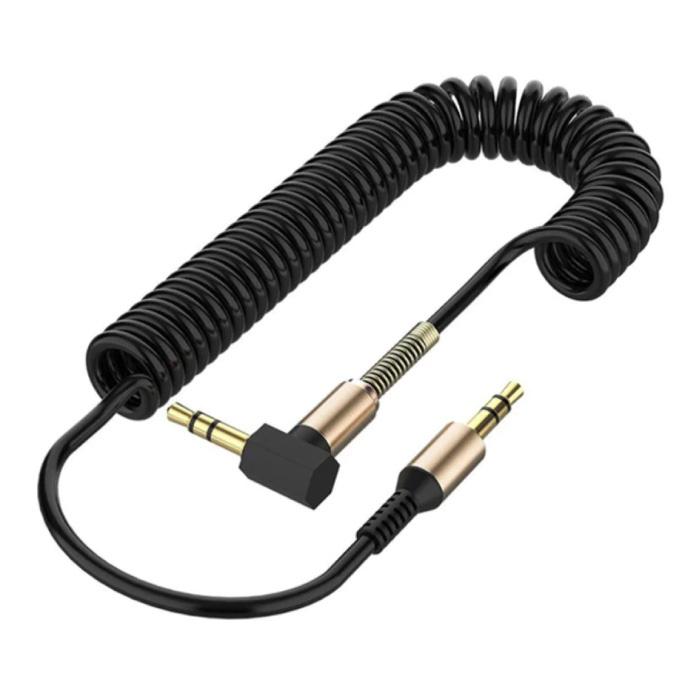 Câble AUX enroulé 3,5 mm Jack audio en spirale plaqué or 1,5 mètre - Noir