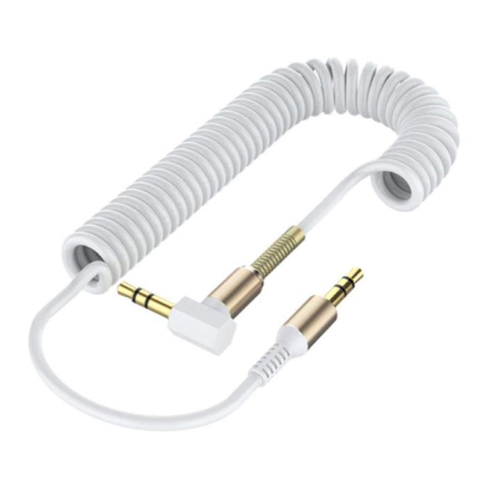 Câble AUX enroulé 3,5 mm Jack audio en spirale plaqué or 1,5 mètre - Blanc