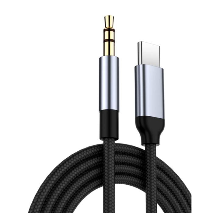 USB-C naar 3.5mm AUX Kabel Verguld Audio Jack Type C 0.5 Meter - Zwart