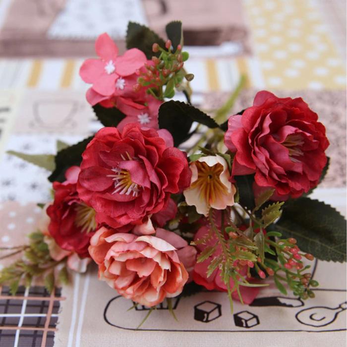 Kunst Boeket - Zijden Rozen Roos Bloemen Luxe Boeketten Decor Ornament Rood