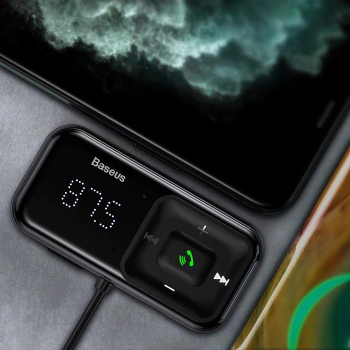 2x chargeur de voiture USB émetteur Bluetooth chargeur mains libres kit radio FM noir