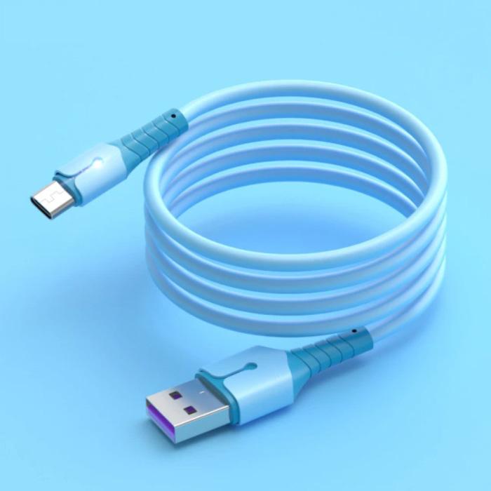 Câble de charge en silicone liquide pour micro-USB - Câble de données 5A Câble de chargeur de 1,5 mètre bleu