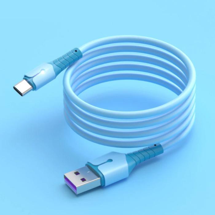 Vloeibare Siliconen Oplaadkabel voor USB-C - 5A Datakabel 1.5 Meter Oplader Kabel Blauw