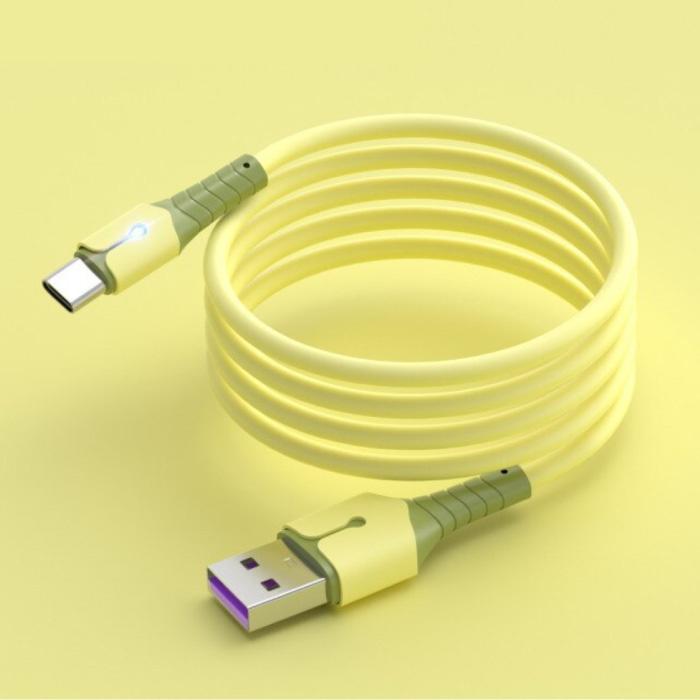 Vloeibare Siliconen Oplaadkabel voor USB-C - 5A Datakabel 1.5 Meter Oplader Kabel Geel