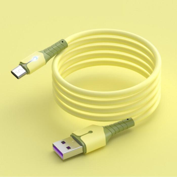 Vloeibare Siliconen Oplaadkabel voor Micro-USB - 5A Datakabel 2 Meter Oplader Kabel Geel