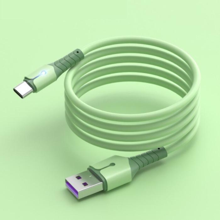 Vloeibare Siliconen Oplaadkabel voor USB-C - 5A Datakabel 1.5 Meter Oplader Kabel Groen