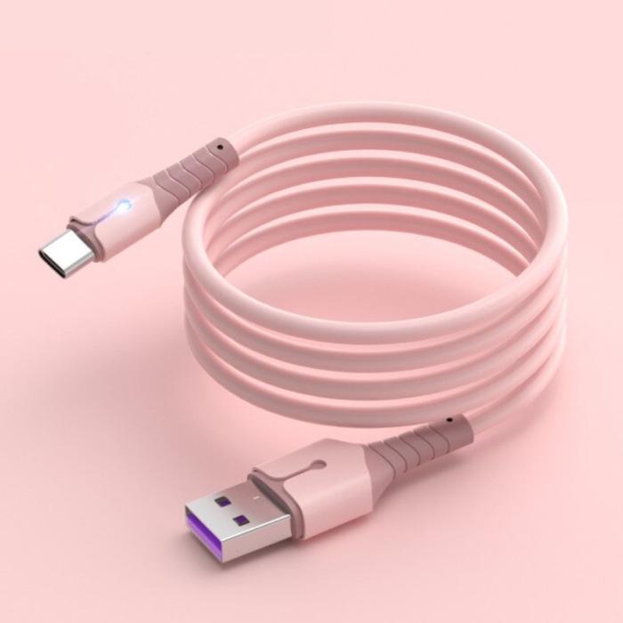 Câble de charge en silicone liquide pour USB-C - Câble de données 5A Câble de chargeur de 1,5 mètre rose
