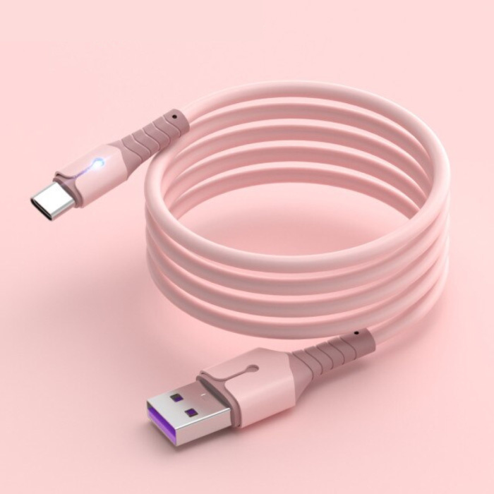 Vloeibare Siliconen Oplaadkabel voor USB-C - 5A Datakabel 2 Meter Oplader Kabel Roze