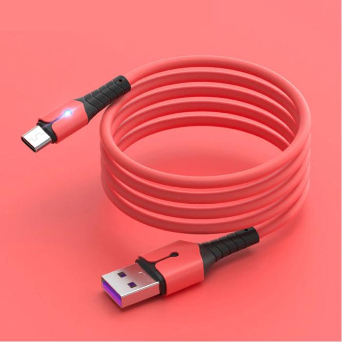 Vloeibare Siliconen Oplaadkabel voor Micro-USB - 5A Datakabel 1 Meter Oplader Kabel Rood