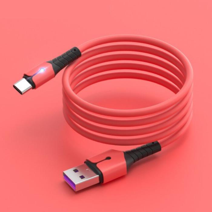 Vloeibare Siliconen Oplaadkabel voor USB-C - 5A Datakabel 1 Meter Oplader Kabel Rood