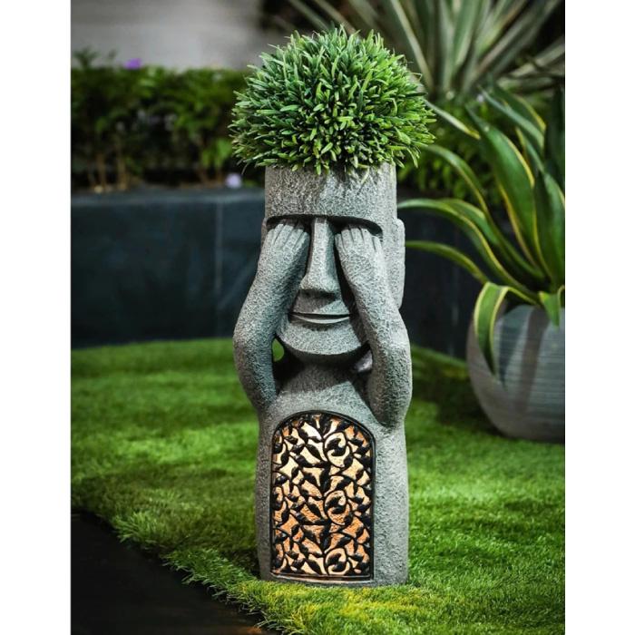 Statue de l'île de Pâques - Sculpture en résine d'ornement de décoration de jardin