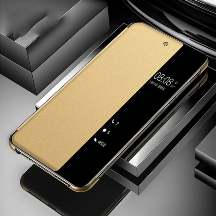 Samsung Galaxy A71 - Smart View LED Flip Case Cover Hoesje Goud
