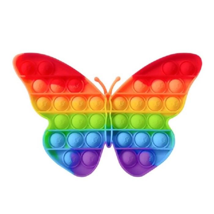 Pop It - Fidget Anti Stress Toy Bubble Toy Silicone Butterfly Rainbow