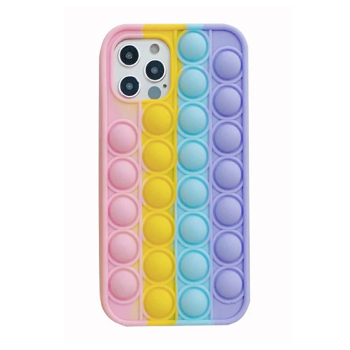 iPhone 11 Pro Pop It Case - Silicone Bubble Toy Case Anti Stress Cover Rainbow