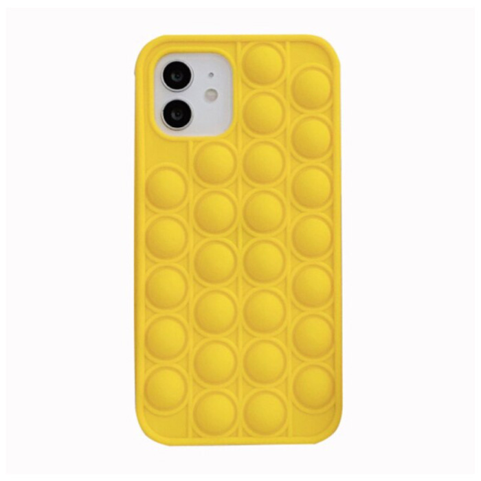 iPhone X Pop It Hoesje - Silicone Bubble Toy Case Anti Stress Cover Geel