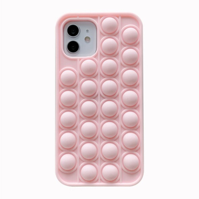 iPhone 11 Pro Max Pop It Case - Silicone Bubble Toy Case Anti Stress Cover Pink