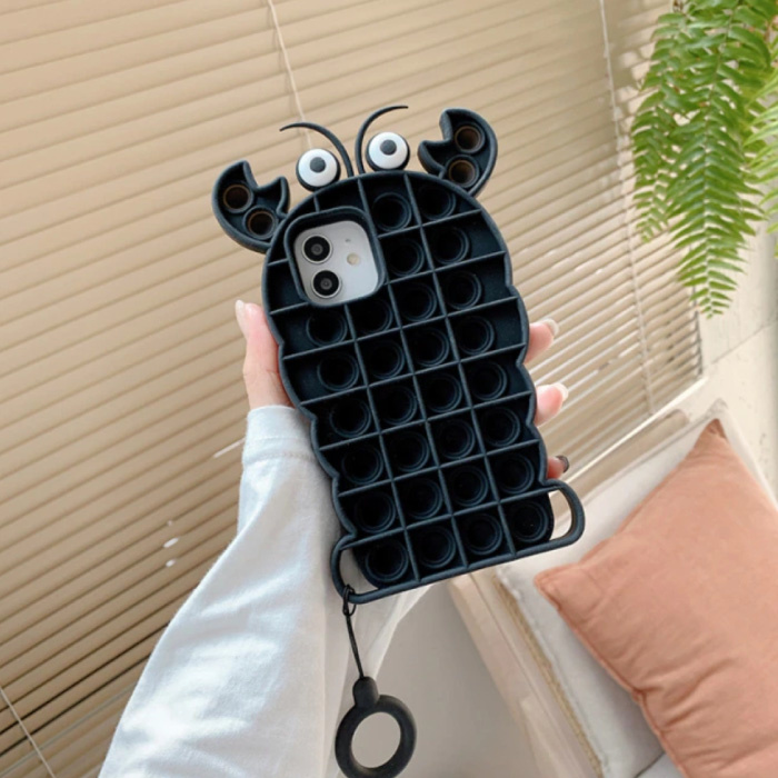 iPhone 8 Plus Pop It Case - Silicone Bubble Toy Case Anti Stress Cover Lobster Black