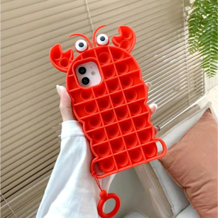 iPhone 8 Plus Pop It Hoesje - Silicone Bubble Toy Case Anti Stress Cover Kreeft Rood