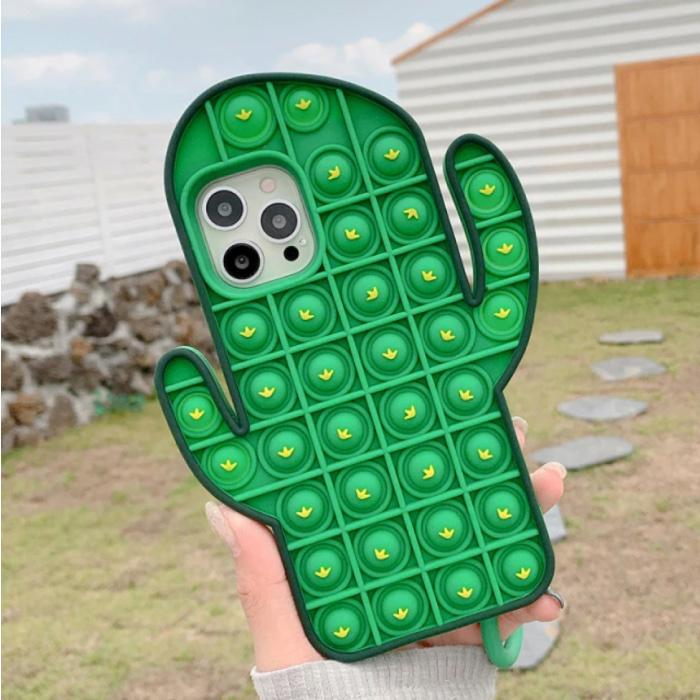 Coque iPhone XS Pop It - Coque Silicone Bubble Toy Housse Anti Stress Cactus Vert