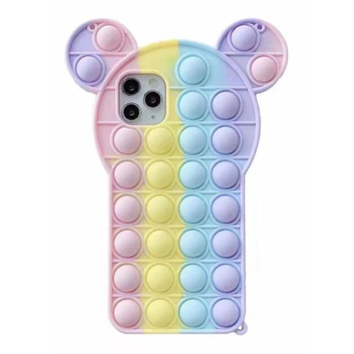 iPhone SE (2020) Pop It Hoesje - Silicone Bubble Toy Case Anti Stress Cover Regenboog