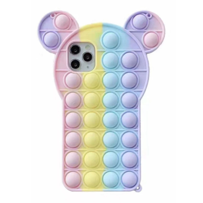 iPhone 11 Pro Max Pop It Case - Silicone Bubble Toy Case Anti Stress Cover Rainbow