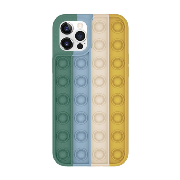 iPhone 12 Pop It Case - Silicone Bubble Toy Case Anti Stress Cover