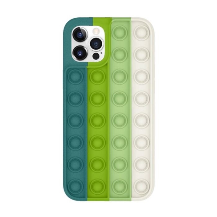iPhone 11 Pro Pop It Case - Silicone Bubble Toy Case Anti Stress Cover Green