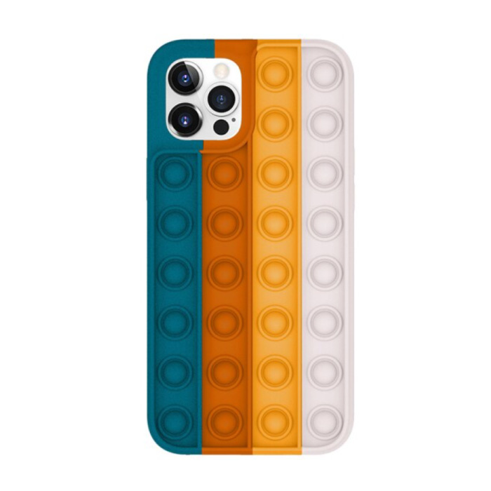 iPhone 12 Pro Pop It Case - Silicone Bubble Toy Case Anti Stress Cover
