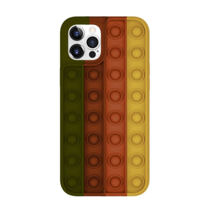 iPhone XS Pop It Hoesje - Silicone Bubble Toy Case Anti Stress Cover