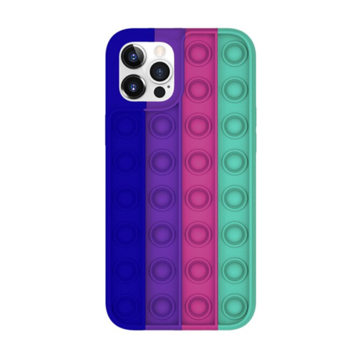 iPhone 7 Pop It Case - Silicone Bubble Toy Case Anti Stress Cover