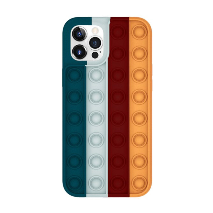 iPhone X Pop It Hoesje - Silicone Bubble Toy Case Anti Stress Cover