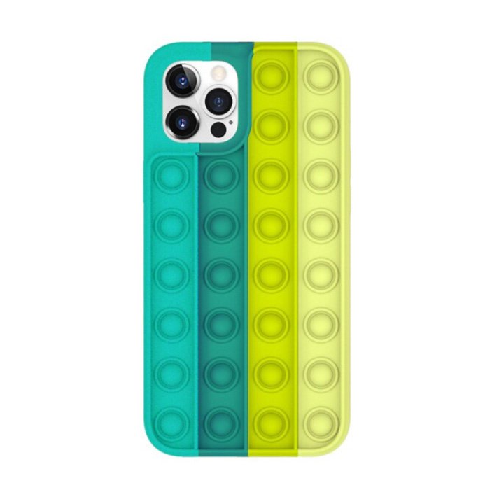 iPhone 12 Pro Pop It Case - Silicone Bubble Toy Case Anti Stress Cover Green