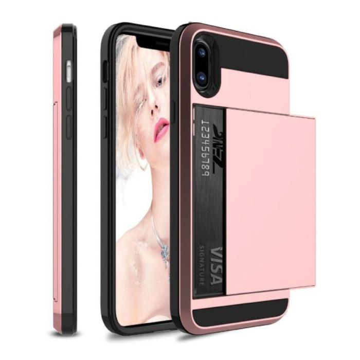 iPhone 7 Plus - Étui portefeuille avec fente pour carte Business Pink