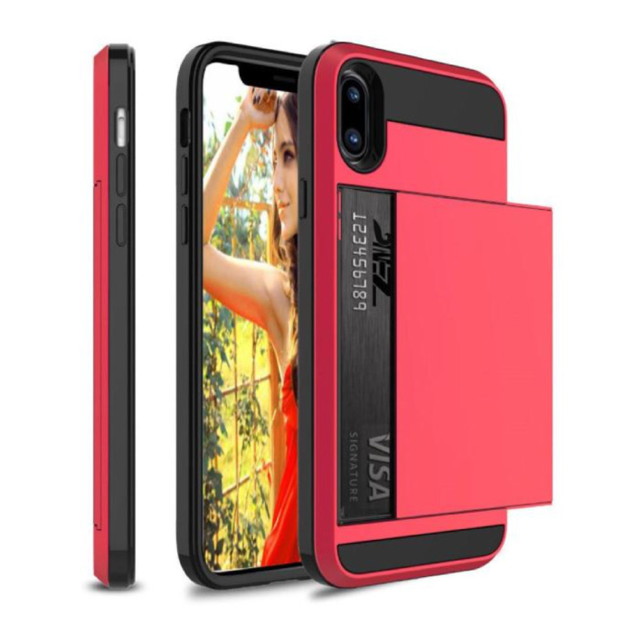 iPhone XS - Wallet Card Slot Cover Case Case Business Red
