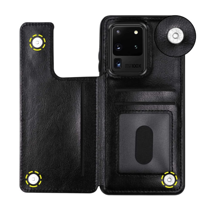 Samsung Galaxy A71 Retro Leren Flip Case Portefeuille - Wallet PU Leer Cover Cas Hoesje Zwart