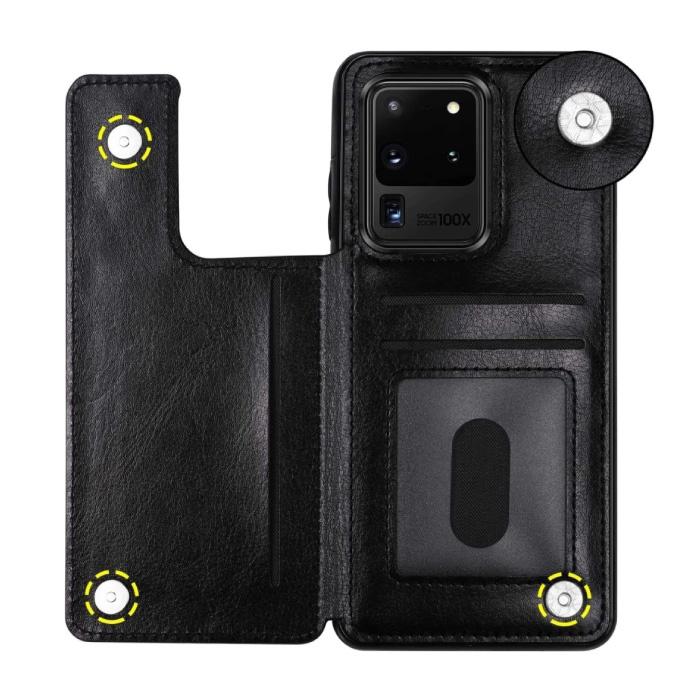 Samsung Galaxy S20 Ultra Retro Leren Flip Case Portefeuille - Wallet PU Leer Cover Cas Hoesje Zwart
