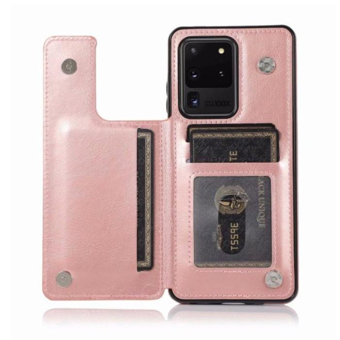 Samsung Galaxy A51 Retro Leren Flip Case Portefeuille - Wallet PU Leer Cover Cas Hoesje Roze
