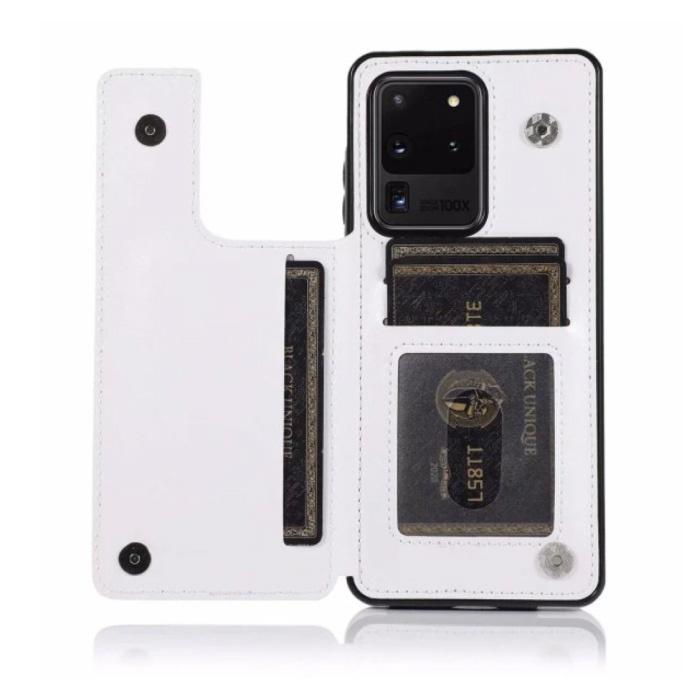 Samsung Galaxy A51 Retro Leren Flip Case Portefeuille - Wallet PU Leer Cover Cas Hoesje Wit