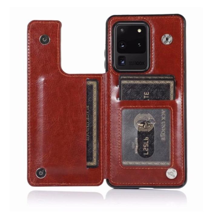 Samsung Galaxy S10 Plus Retro Leren Flip Case Portefeuille - Wallet PU Leer Cover Cas Hoesje Bruin