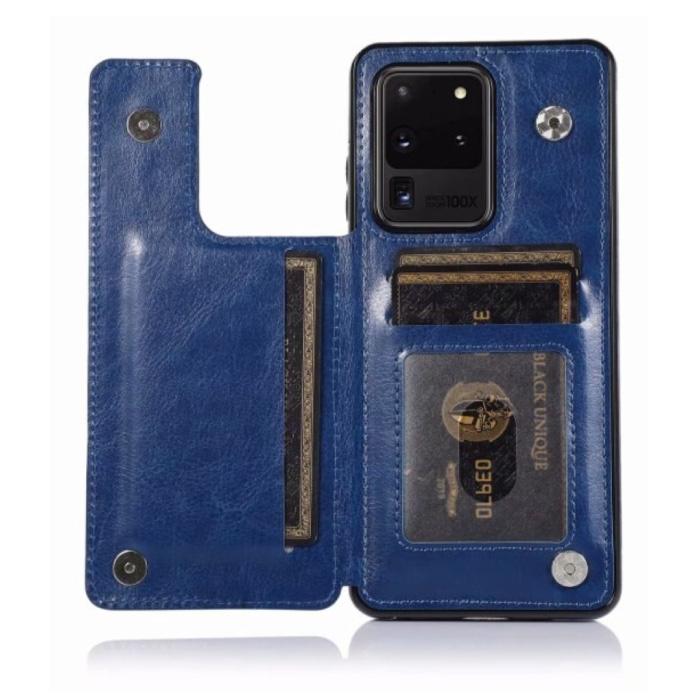 Samsung Galaxy S10 Plus Retro Leren Flip Case Portefeuille - Wallet PU Leer Cover Cas Hoesje Blauw