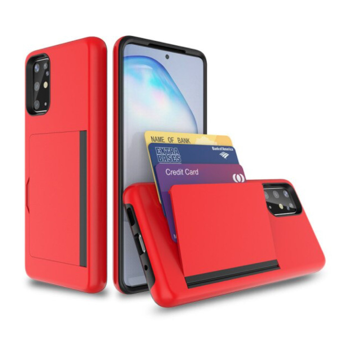 Samsung Galaxy Note 20 - Wallet Card Slot Cover Case Hoesje Business Rood