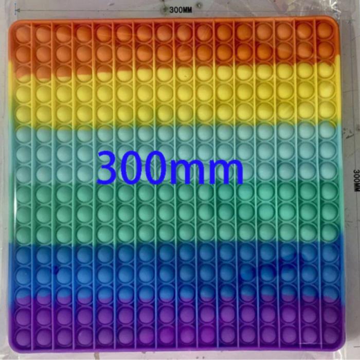 XXL Pop It - 300mm Extra Extra Groot Fidget Anti Stress Speelgoed Bubble Toy Siliconen Vierkant Regenboog