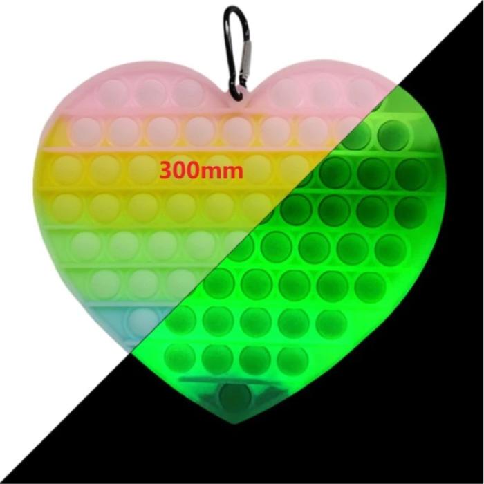 Luminous XXL Pop It - 300mm Glow in the Dark Extra Extra Large Fidget Anti Stress Toy Bubble Toy Silicone Heart Rainbow