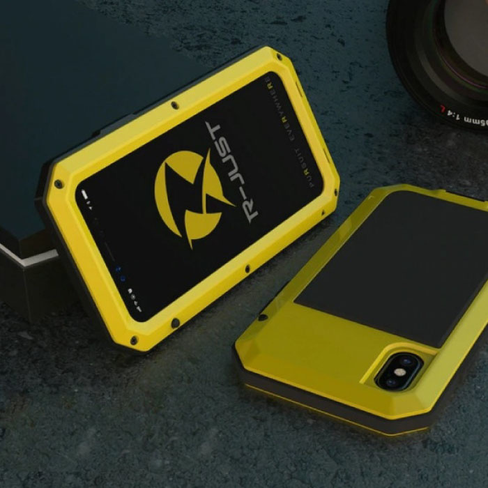 iPhone 8 360 ° Full Body Case Tank Case + Screen Protector - Shockproof Cover Yellow