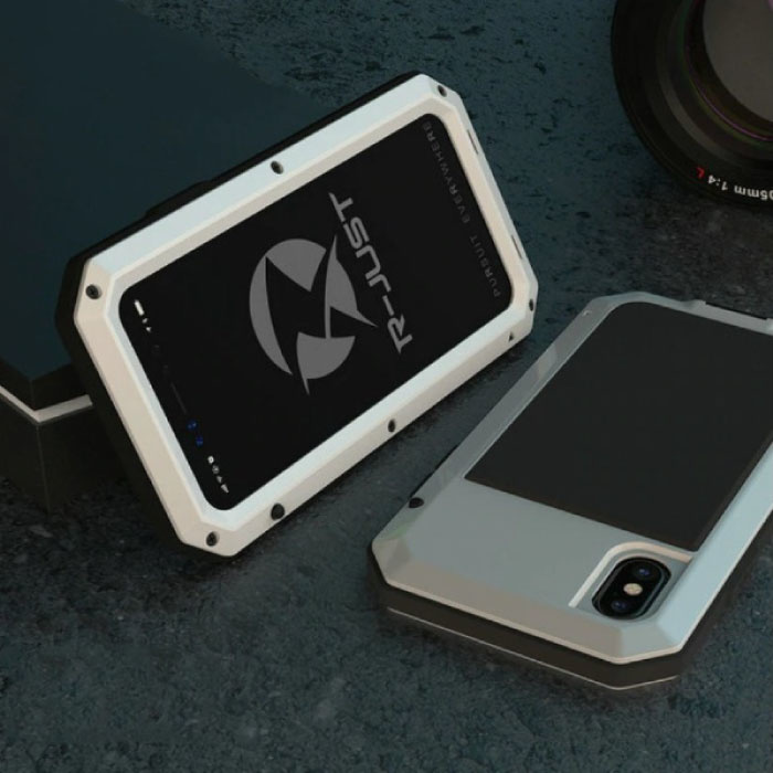 iPhone 12 360 ° Full Body Case Tank Case + Screen Protector - Shockproof Cover White