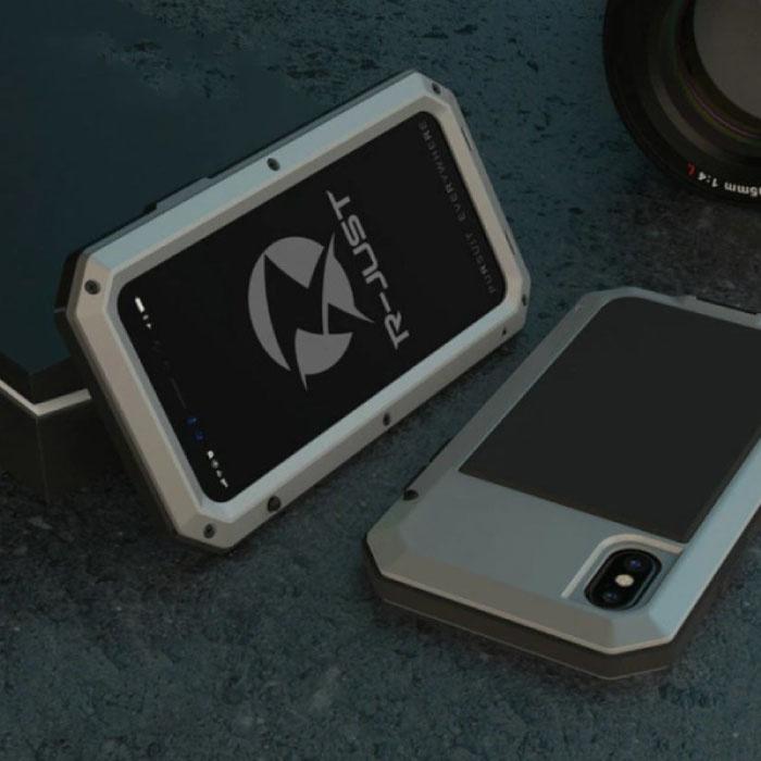 iPhone SE (2020) 360°  Full Body Case Tank Hoesje + Screenprotector - Shockproof Cover Zilver