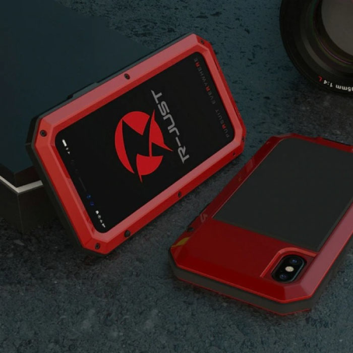 iPhone XS Max 360°  Full Body Case Tank Hoesje + Screenprotector - Shockproof Cover Rood