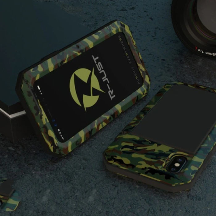 iPhone XS 360°  Full Body Case Tank Hoesje + Screenprotector - Shockproof Cover Camo